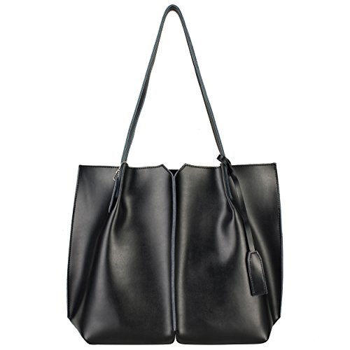 Yiwanda Women's Genuine Leather Handbags Tote Bag Large Shoulder Bags (Black) by Yiwanda