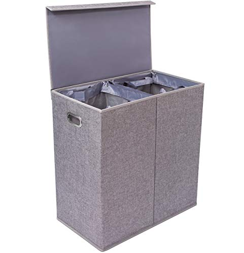 BirdRock Home Premium Double Laundry Hamper with Lid and Removable Liners - Linen Hampers - Grey Foldable Bin - Easily Transport Clothes - Cut Out Handles - Clothes Basket (Hamper With Wicker Lid Lined)