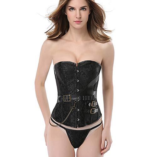 SSeir Women's Corset Brown Gothic Body Corset Punk Rock Faux Leather Corset Bustier Basque Accessories Corset + T Pants,Black,XXXXL