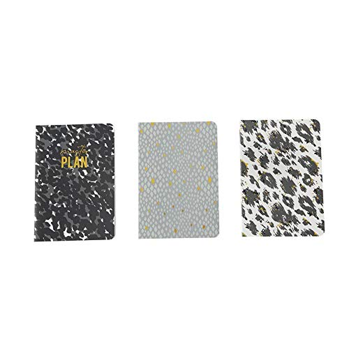 (Mud Pie Womens Set of 3 Journal Notebook Trio Combo Black Print Cover)