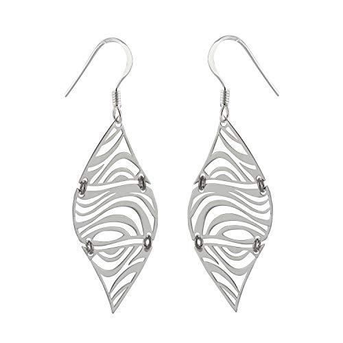 Zebra Print Earrings - 925 Sterling Silver - Zebra Earrings Dangle Stripe - Jewelry Accessories Key Chain Bracelets Crafting Bracelet Necklace Pendants ()