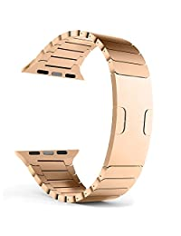 Apple Watch Band - FanTEK Polishing Stainless Steel Replacement iWatch Strap Link Bracelet with Double Button Folding Clasp for 42mm Apple Smart Watch (Rose Gold)