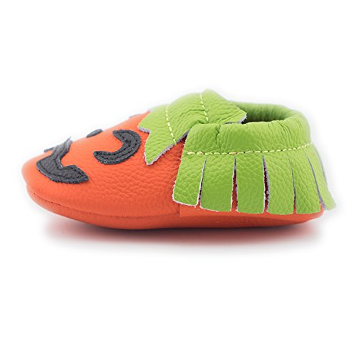 CoCoCute Baby Moccasins Soft Leather Sole Infant Toddler Prewalker Shoes for Halloween (6-12 Months / US 5.5, Pumpkin) (Halloween Shoes)