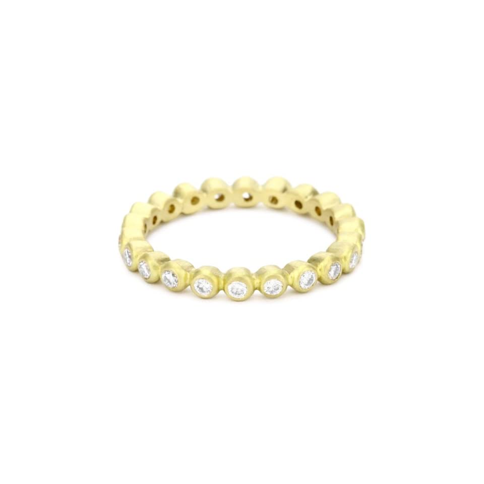 Annie Fensterstock Raindrop 18k Yellow Gold with Diamond Ring, Size 6