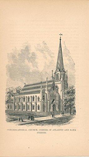 Congregational Church At Atlantic   Bank St  Scarce 1868 Stamford Ct Small Print