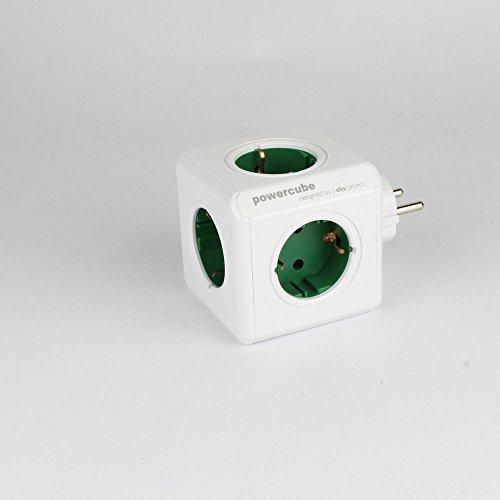 ARINO allocacoc PowerCube Original Steckdose Mehrfachsteckdosen Dose 230V Schuko 4 Fach EU Stecker mit ARINO Klettband Grün