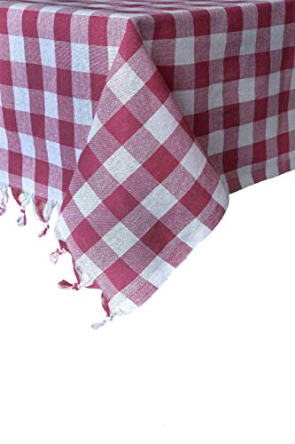 Madame Gayda Tablecloth Checkered Buffalo Check Plaid 100% Cotton Picnic Blanket Table Cover Throw Fringed Mantel 55x55 inches (Pink and White, 55 x 55'') ()
