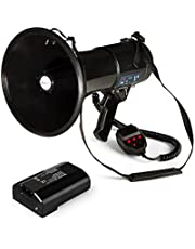 Auna Megáfono MEGA080USB Megáfono Amplificador de Voz Batería Alcance hasta 700 m Modo de Voz Sirenas silbidos USB Rec Ranura SD Reproductor de MP3 Correa de Transporte Negro
