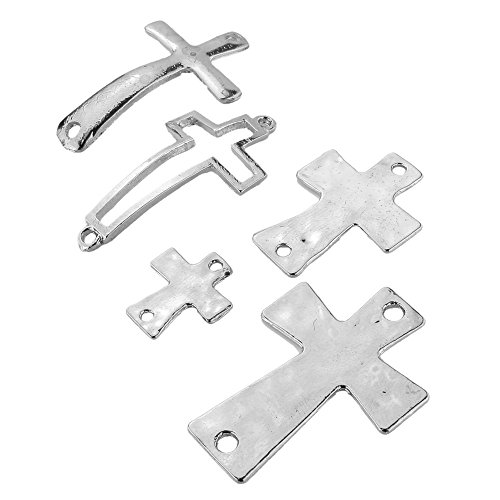 Silver Plated Charms Cross - BEADNOVA 5pcs Vintage Silver Plated Cross Bracelet Necklace Charm Connector for Jewelry Making