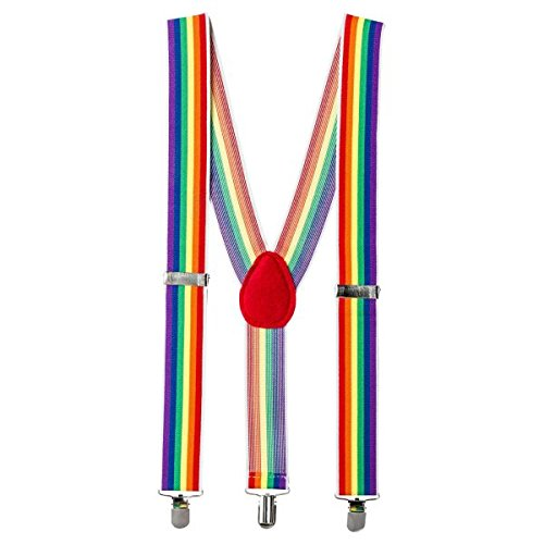 Amscan Party Perfect Team Spirit Rainbow Adult Suspenders (1 Piece), Multi Color, 15.6 x 5.2""