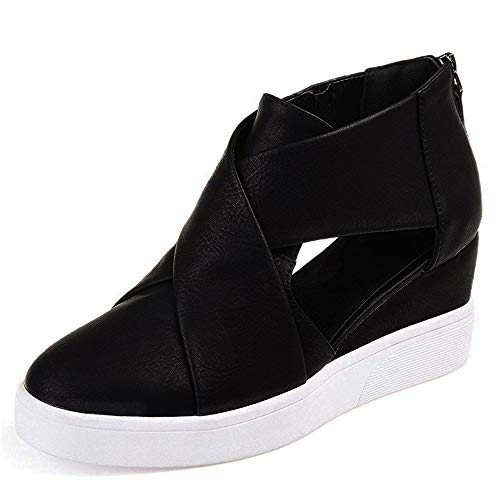 Athlefit Women's Platform Wedge Sneakers Cut Out Criss Cross Strap Wedge Shoes Ankle Heels EU39 Black