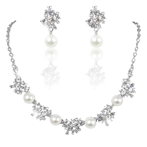 White Pearl Ball Cluster Necklace (EVER FAITH Austrian Crystal Simulated Pearl Flower Cluster Necklace Earrings Set Clear Silver-Tone)
