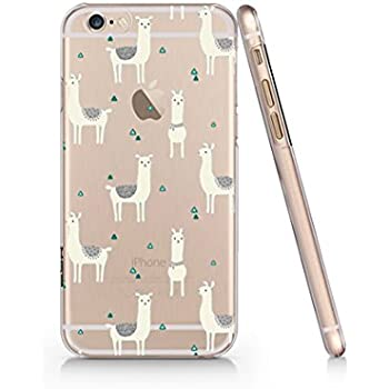 big sale d9796 0d345 Amazon.com: Cute Llama Pattern Slim iPhone 6 Case, Clear iPhone Hard ...