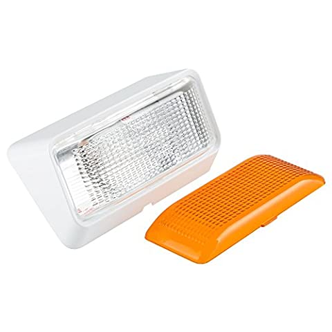 Lumitronics LED RV Exterior Porch Utility Light - 12v Lighting Fixture. Replacement Lighting for RVs, Trailers, Campers, 5th Wheels. Clear and Amber Lenses Included (White - Fluorescent Step Light