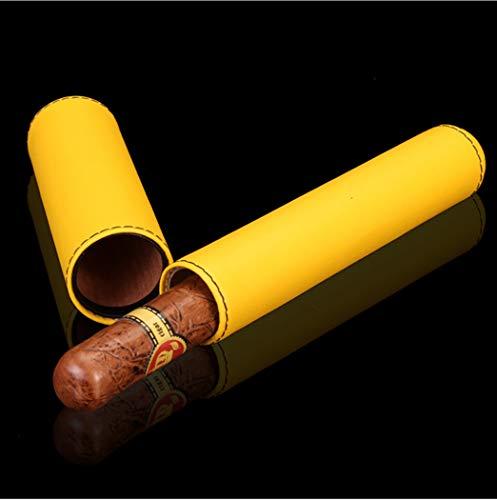 LHFJ Cigar Case Cowhide Leather Portable Travel Cigar Tube Cigar Humidor Single Cigar by LHFJ (Image #2)