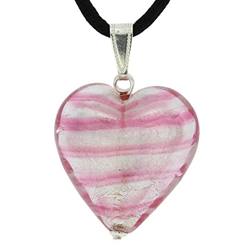 GlassOfVenice Murano Glass Heart Pendant - Striped Silver Pink ()