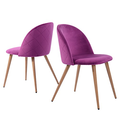 GreenForest Dining Chairs Set of 2, Modern Velvet Kitchen Chairs Wood and Metal Legs Accent Side Chair for Living Room, Purple