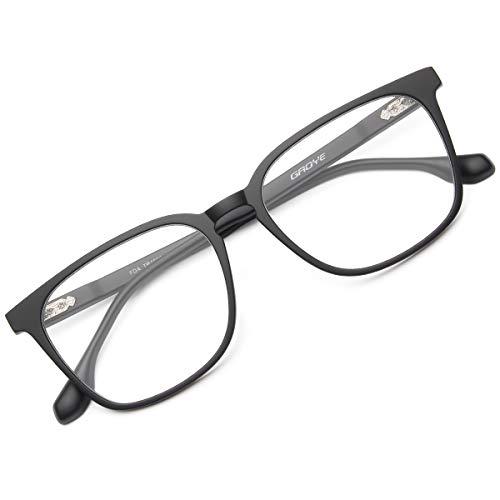 Gaoye Blue Light Blocking Computer Glasses for Women Men TR90 Lightweight Frame Anti Eyestrain Headache UV Filter Lens - GY1886 (Matte Black)
