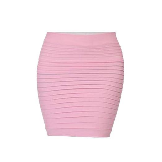 Falda corta para mujer, elástica, plisada, cintura alta, cintura ...