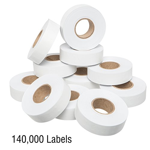 1812 White Pricing Labels for Garvey 18-6 One Line Price Gun – 10 Sleeves – 140,000 Price Marking Labels – with Bonus Ink Rolls by Perco (Image #1)