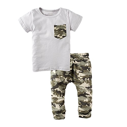 BIG ELEPHANT Baby Boys' 2 Pieces Summer Short Sleeve T-Shirt Camouflage Pant Clothing Set (Camouflage Baby Tee)