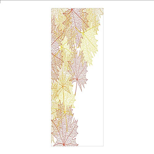 (3D Decorative Film Privacy Window Film No Glue,Leaves,Pattern with Maple Tree Fall Leaves Skeleton Dried Golden Forms Halloween Decoration Decorative,Red Yellow,for)