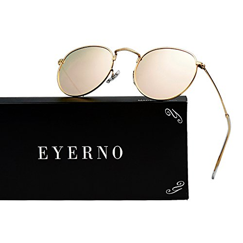 Eyerno Vintage Round Mirrored Unisex Sunglasses Retro Hippie Circle Glasses(Rose - Aviators Rose Ban Ray Gold