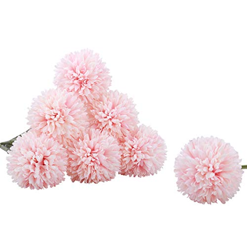 Bomarolan Artificial Hydrangea Silk Flowers Real Touch Fake Dandelion Bouquet for Wedding,Birthday Party,Home Decoration 7 Pcs(Champagne)