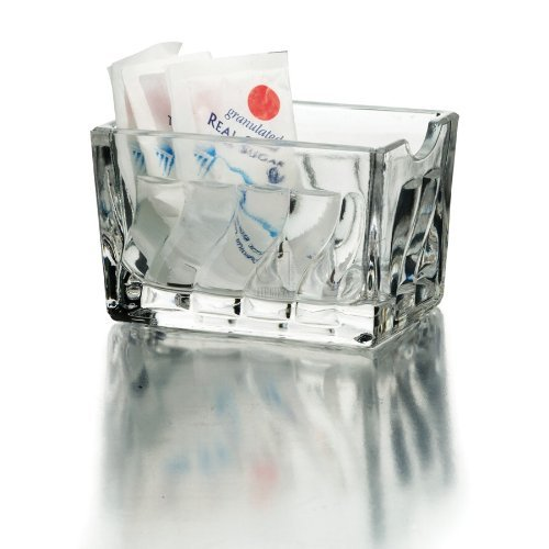 Home Essentials Essential for Home Faceted Glass Sugar Packet Holder, Clear