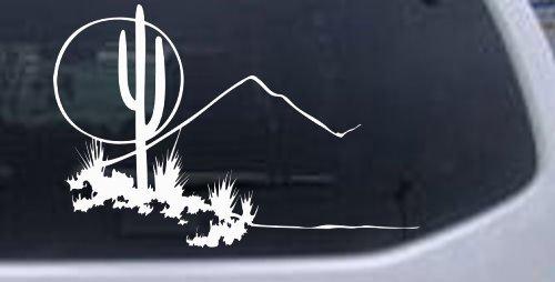 (White 6in X 4in -- Western Cactus Moon Scene Western Car Window Wall Laptop Decal Sticker)