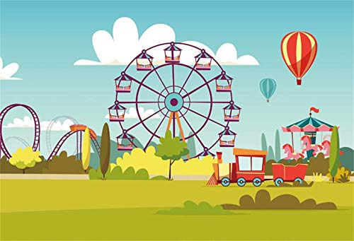 (SZZWY Cartoon Funfair Interior View Backdrop 9x6ft Vinyl Blue Sky Ferris Wheel Roller Coaster Whirligig Fire Balloons Small Train Photography Background Kids Child Baby Shoot Birthday Party Banner)