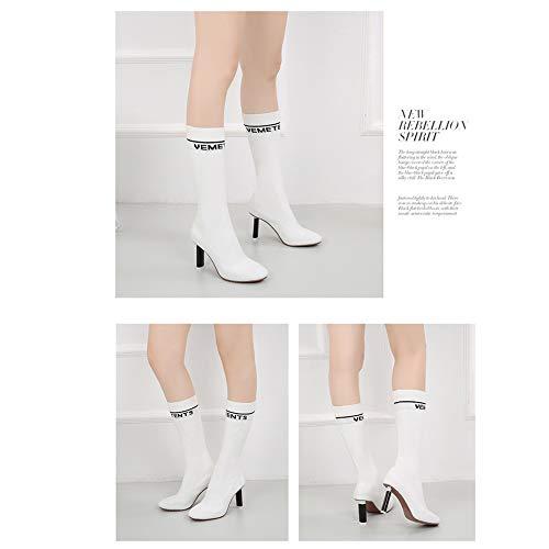 stivali a autunno testa maglia bianco rotonda versatile in e Nssz inverno calzini sottile era donne qU4Aw