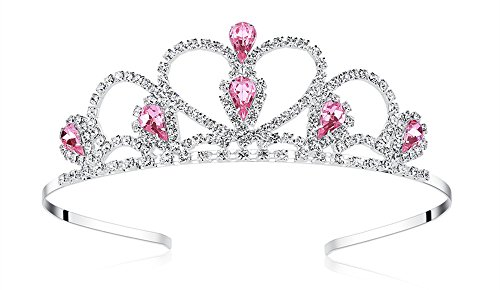 Lovelyshop Pink Gems Rhinestone Tiara, No Comb for Little Kid Big Kid Girl Prom Birthday Prinecess Party