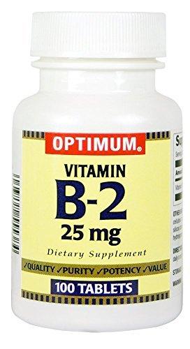 Optimum Vitamin B-2 Tablets, 25 Mg, 100 Count Pack of 3