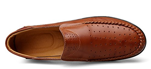 Tda Mens Avslappnad Slip-on Läder Penny Loafers Sommaren Andas Mesh Låg-bästa Skor Rödbrun