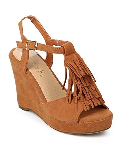 - Betani Women Suede Peep Toe Fringe T-Strap Wedge Sandal EJ31 - Camel (Size: 6.0)