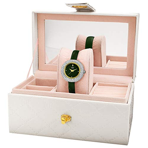 Burgi Women's BUR195 Gift Set Swarovski Crystal & Diamond Accented Watch - Comfortable Leather Strap with a Free Mirrored Jewlery Gift Box (Yellow Gold & Green)
