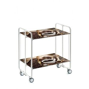 Carrito camarera armazón blanco, 2 bandejas Dec. Café. Cuatro posiciones fáciles de cambiar: cerrado, abierto, semi-plegado, bandeja inferior semi-plegada.