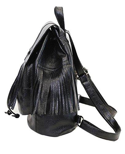 QPALZM Süß Lady PU-Leder Front-Reißverschluss Quaste Rucksack Mode Wild Trend Ms. Schultern Rucksack 7,63 Unzen (oz),Black
