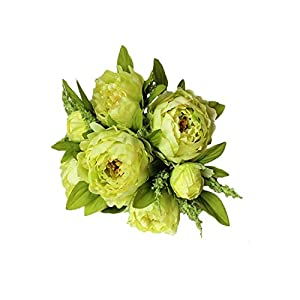 Maja Shop 7 Heads Silk Simulation Artificial Flower Peony Flower Bouquet for Wedding Party Table Accessory Home Decoration,Green 91