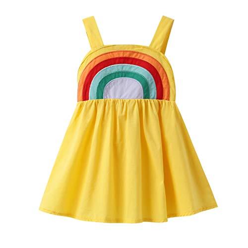 Baby Girls Rainbow Dress Boho Toddler Pageant Princess Sleeveless Halter Beach Sundress (Yellow Rainbow Dress, 2-3Years/100)]()