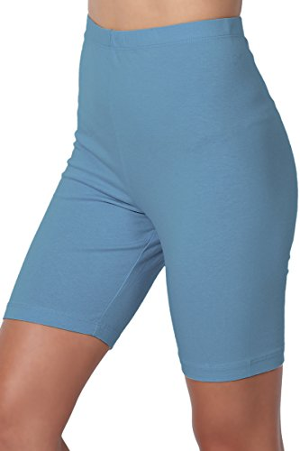 TheMogan Women's Mid Thigh Cotton High Waist Active Short Leggings Titanium M (Elastic Waist Stretch Leggings)