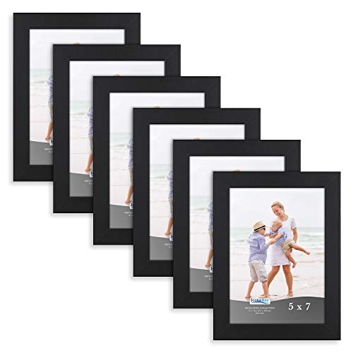 Icona Bay 5x7 Picture Frame (6 Pack, Black), Black Sturdy Wood Composite Photo Frame 5 x 7, Wall or Table Mount, Set of 6 Exclusives ()