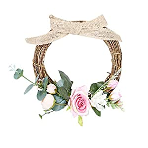 Karooch DIY Simulation Artificial Wreath Wall-Mounted Ornament Rose Eucalyptus Leaves Green Plant Burlap Garland Window Door Hanging Decor for Wedding Ceremony Party Home Garden 15