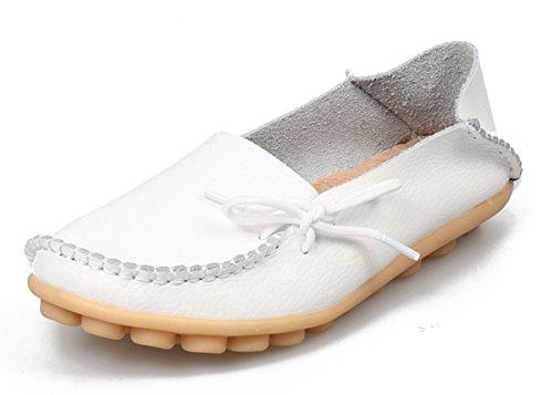 Anbover Mujeres Plus Size Driving Zapatos Mocasines Planos De Cuero Cómodos Cómodo Suela De Goma Slip On Zapatos Cómodo Suela De Goma Slip On Zapatos Blanco