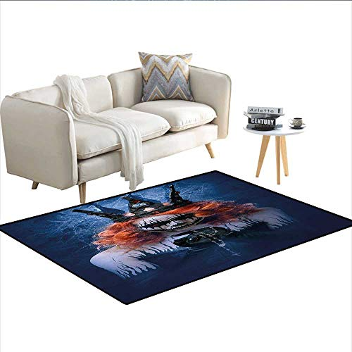 (Carpet,Queen of Death Scary Body Art Halloween Evil Face Bizarre Make Up Zombie,Print Area Rug,Navy Blue Orange)