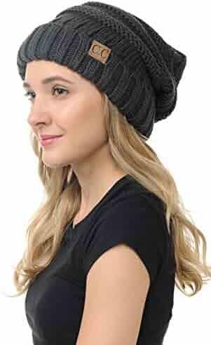 bed0f0272da BYSUMMER C.C. Oversized Stylish Thick Soft Cable Knit Slouchy Warm Winter Beanie  Hat (Melange Grey