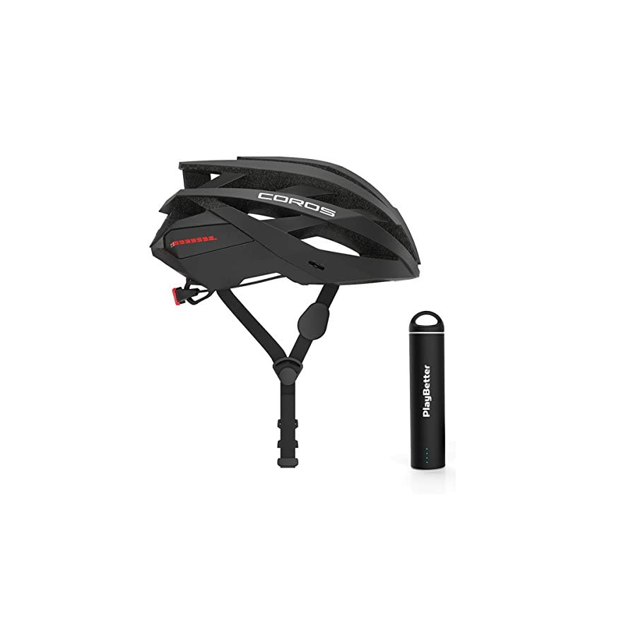 PlayBetter Coros OMNI Smart Cycling Helmet Bundle with Portable Charger | Bone Conducting Audio via Bluetooth, LED Tail Lights | Polycarbonate Shell, EPS Protection