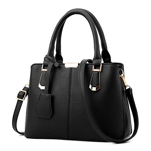 Womens Handbags Sacs à Bandoulière En Cuir PU Cross-Body Sacs Top-Handle Sacs Pour Dames Shopping Outdoor Sac à Main Totes,Black-27 * 14 * 19cm