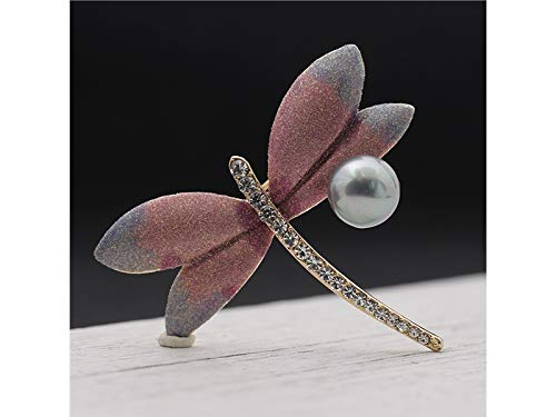 Decoartion Delicate Dragonfly Brooch Wedding Bridal Dress Decorative Corsage for Women's Gift (Gold+White) for Shawl